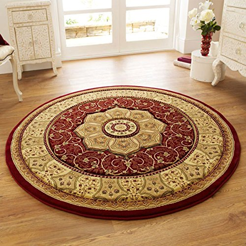 Think Rugs Heritage 4400 Traditional Hand Carved Round Rug