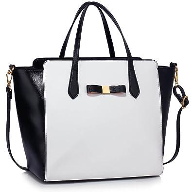 a4f83dd93d88 Tote Bag For School (Black White) Handbag New Fashion Designer Ladies Faux  Leather