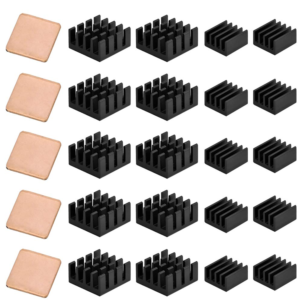 CJRSLRB 20Pcs Aluminum Raspberry Pi Heatsink + 5Pcs Copper Pad Shims Cooler with 3M Thermal Conductive Adhesive for Raspberry Pi 3 B+, Pi 3 B, Pi 2, Pi Model B+ Cooling