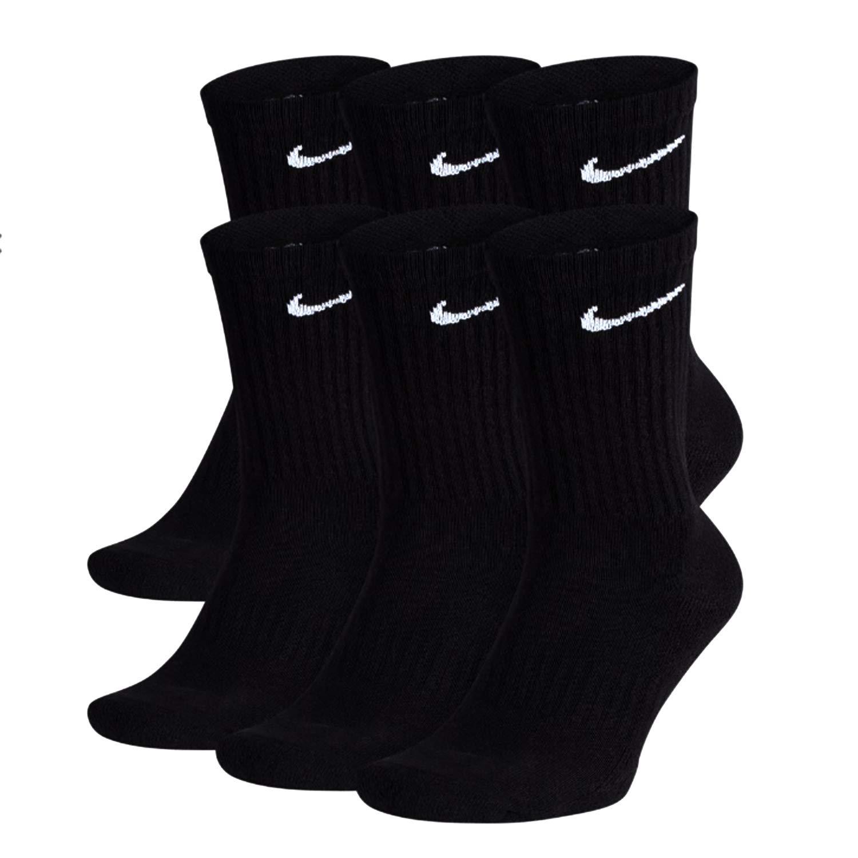 NIKE Everyday Performance Training Socks (6-Pair) (M (Men's 6-8 / Women's 6-10), Crew Black)