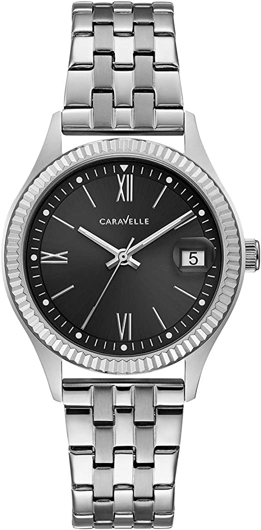 Caravelle Designed by Bulova Women's Quartz Watch with Stainless-Steel Strap, Silver, 16 (Model: 43M115)