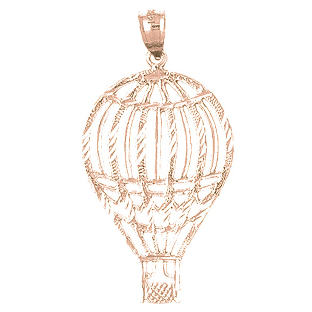 Rose Gold-plated Silver 39mm Hot Air Balloon Pendant