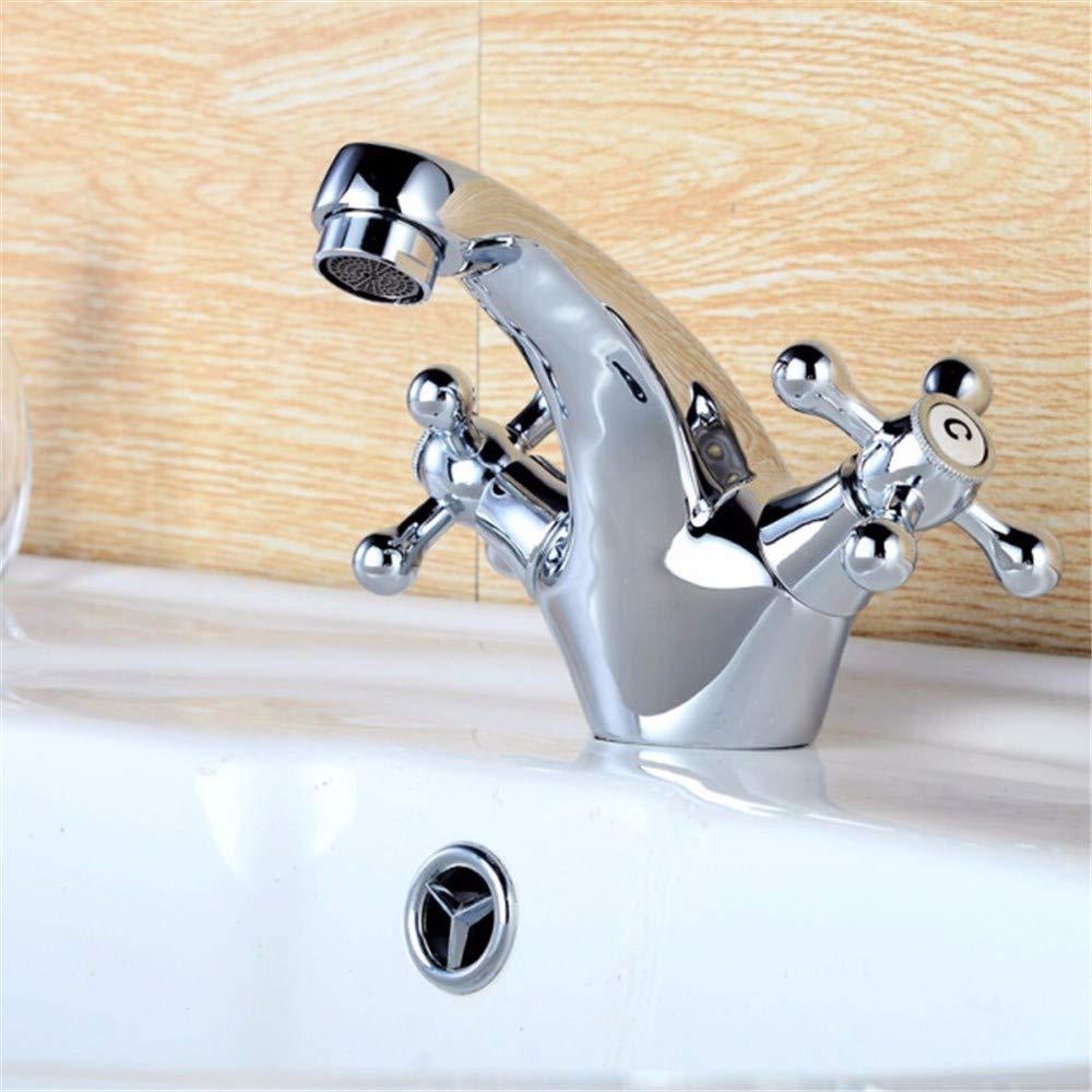 XPYFaucet Wasserhahn Armatur Mischbatterie Zweihand-Handwaschbecken Mit Warmem Und Kaltem Zwetschgen-Handrad