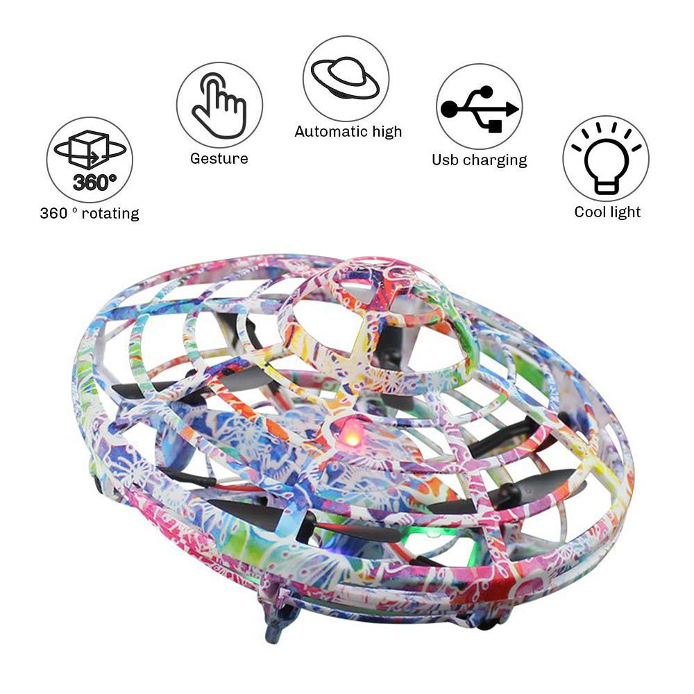 LOKMAT Drones for Kids, Hand-Controlled Suspension Mini Helicopter Drone,Infrared Induction Interactive Drone Flyer Toys with 360° Rotating and LED Lights, Flying Toys for Boys Girls (Multicolor) by LOKMAT (Image #2)