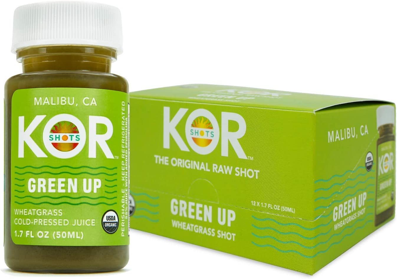 KOR Shots Wheatgrass Ginger Spirulina Shot - 12 Pack x 1.7 Fl Oz - Green Up Shot - Daily Greens Superfoods Shot - USDA Certified Organic