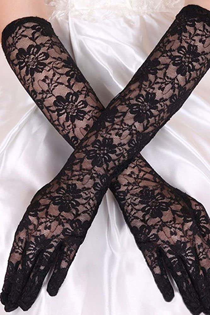 Elegant Ladies Stretch Lace Elbow Length Gloves