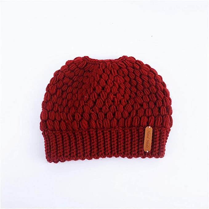 a0bdac0682f Amazon.com  Dig dog bone Women Knit Beanie - Winter Solid Ski Hats Real  Autumn and Winter Knit Open Top Ponytail Cap (Color   Black)  Sports    Outdoors