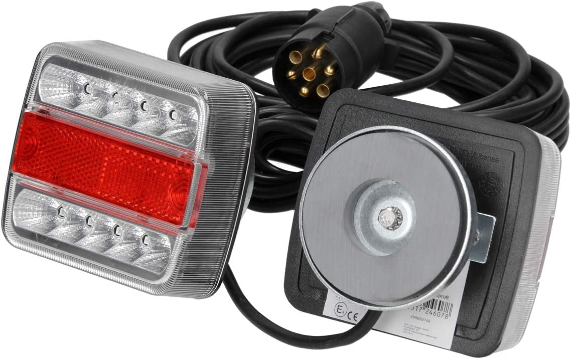 ECD Germany Kit de Iluminación LED para Remolque 4 Funciones con Imán Luces Traseras 12V Cableado de 7,5 m Conector de 7 Polos Luz de Vehículos Agrícolas Caravanas 14 Leds por Lámpara