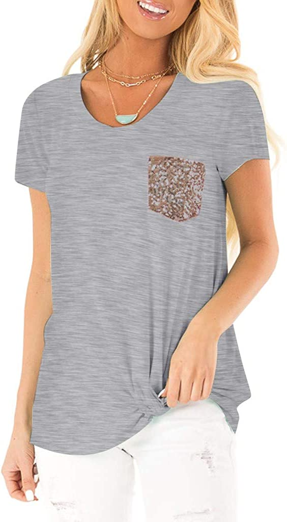 QIQIU Sequin Pocket Tops Womens 2019 Fashion Summer Short Sleeve Casual Basic T-Shirt O Neck Blouses