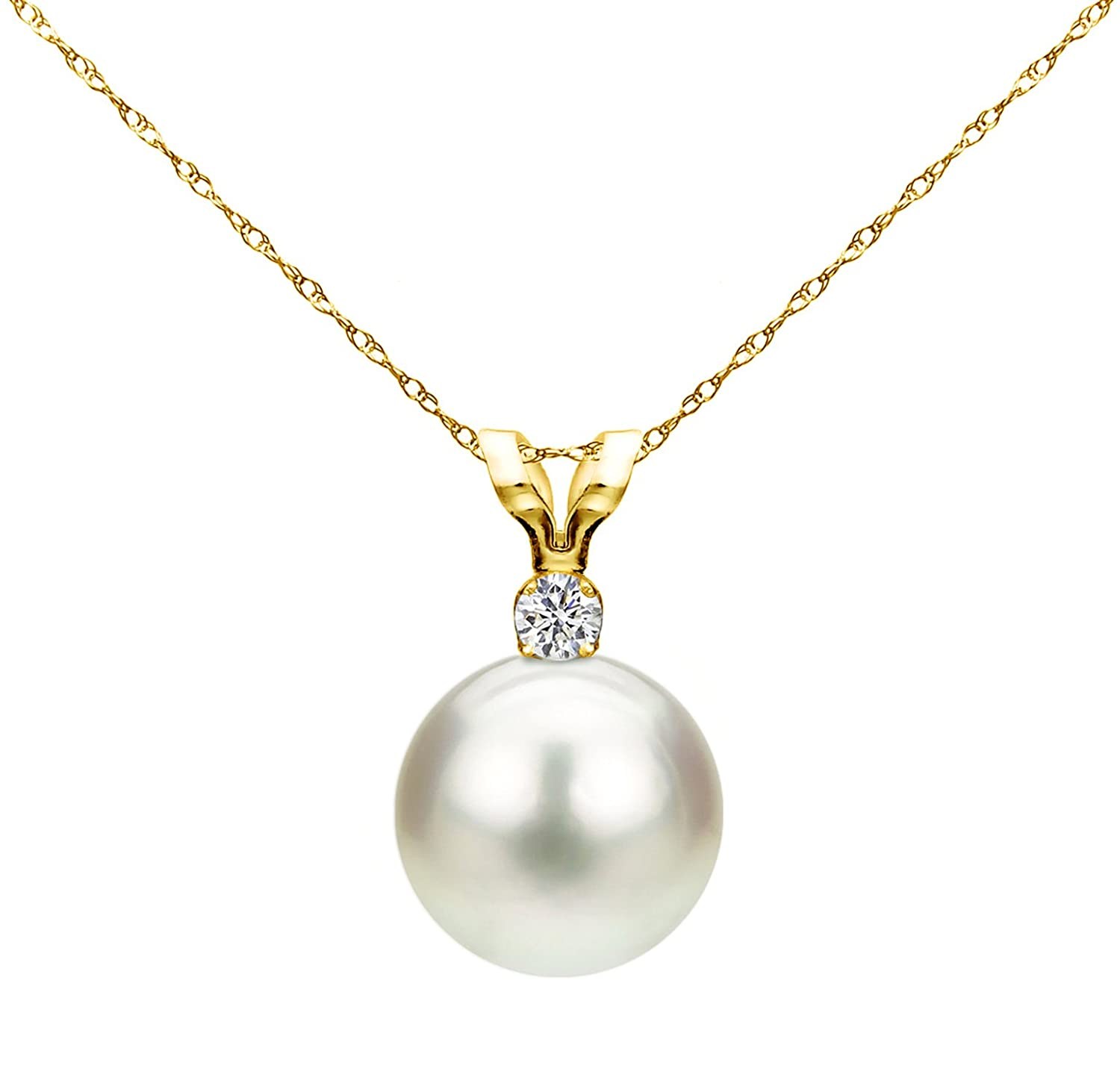 14K Gold Chain Freshwater Cultured Pearl Pendant Necklace Diamond Jewelry for Women 7-7.5mm 1/20CTTW