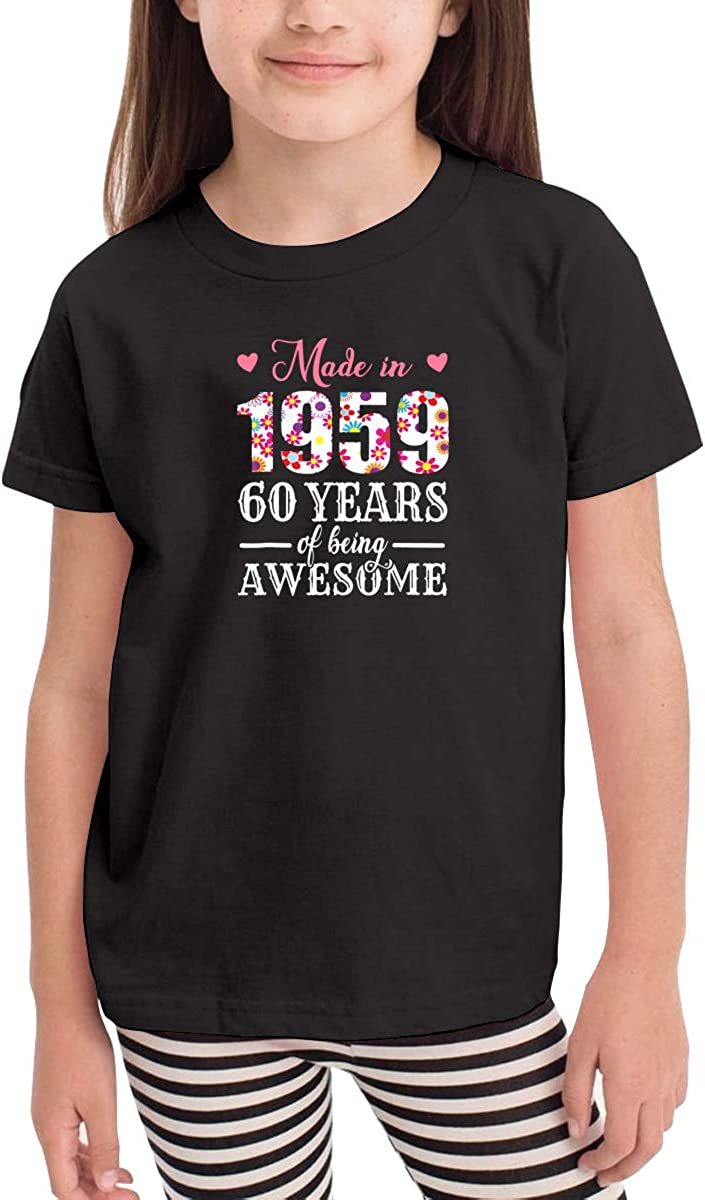 Made in 1959 60 Years of Being Awesome Novelty Cotton T Shirt Personality Black Tee for Toddler Kids Boys Girls
