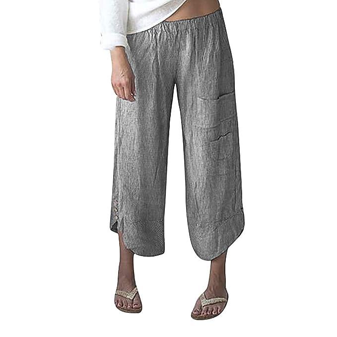 Amazon.com: Pantalones de cintura elástica para mujer ...