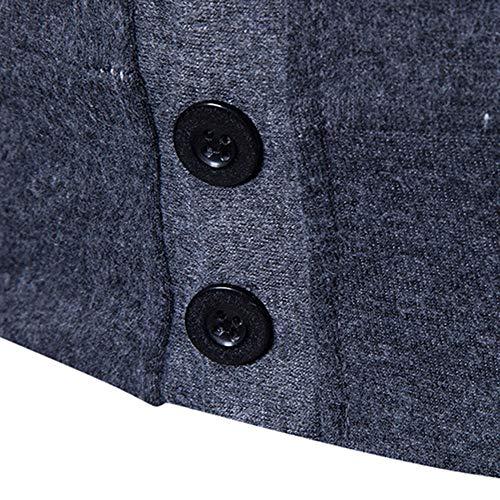 Dayseventh Lunga Patchwork Outwear Camicetta Fit Manica Pulsante Felpa Grigio Slim Maschile 4gvSqwA