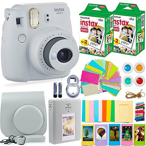 Fujifilm Instax Mini 9 Instant Camera + Fuji Instax Film (40 Sheets) + Accessories Bundle - Carrying Case, Color Filters, Photo Album, Stickers, Selfie Lens + More (Smokey White) from DEALS NUMBER ONE