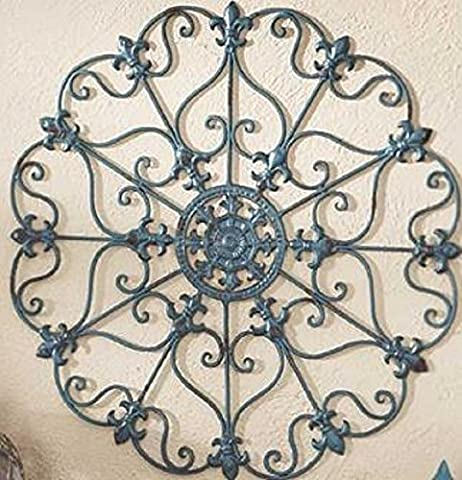 Teal Finish Iron Metal Wall Medallion Decor Indoor/Outdoor Home Decorations (Outdoor Decor)