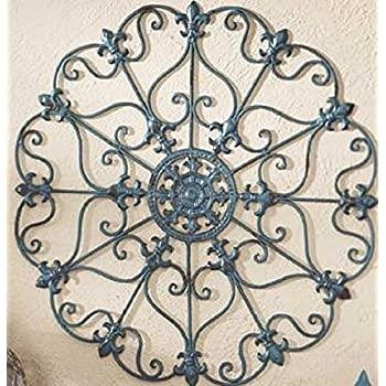 Teal Finish Iron Metal Wall Medallion Decor Indoor/Outdoor Home Decorations