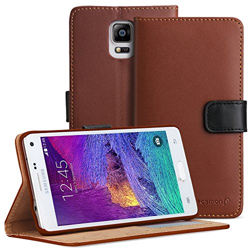 Fosmon® Samsung Galaxy Note 4 Case (CADDY-CLASSIC) Leather Multipurpose Flip Cover Case with (Built-in Stand) for Samsung Galaxy Note 4 - Fosmon Retail Packaging (Brown)