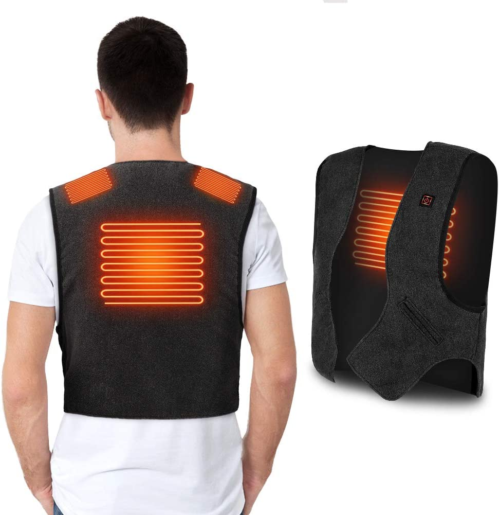YHG Heated Vest, Heating Jacket with USB Plug, Lightweight Heating Body Warmer for Outdoor Skiing, Hiking, Camping in The Winter, Fits for Men and Women(Gray)