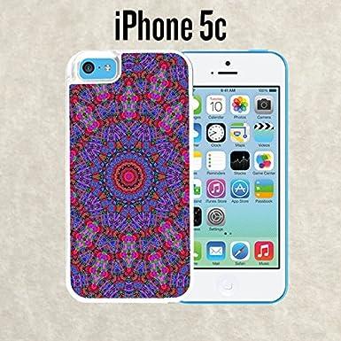 iPhone caso Mandalas Tumblr morado para iPhone 5 C blanco 2 en 1 resistente (barcos