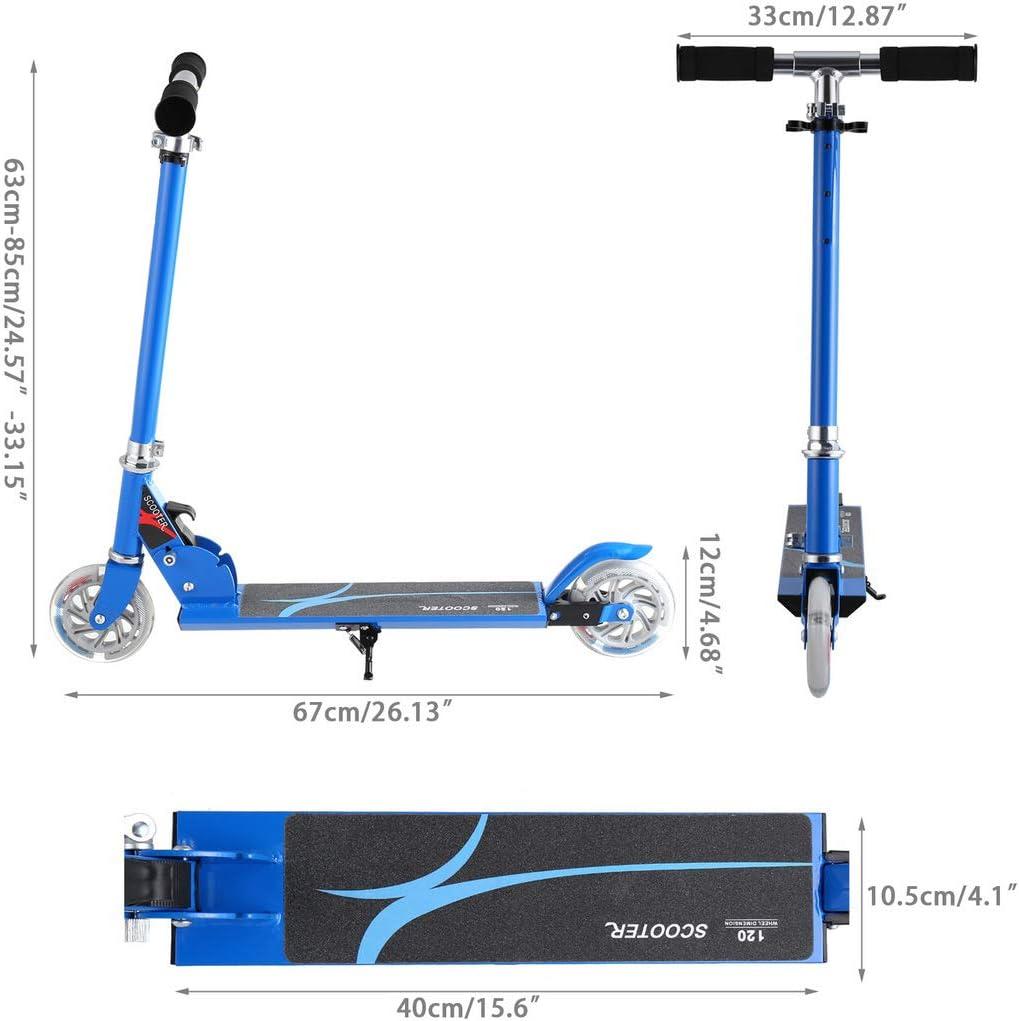 Amazon.com: Yiilove Patinete plegable de aluminio con 2 ...