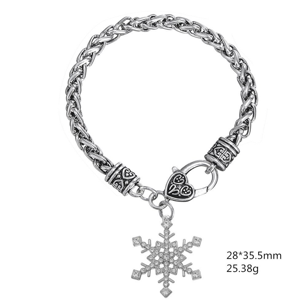 My Shape Fashion Crystal Christmas Snowflake Charms Bracelet for Girls Jewelry Christmas