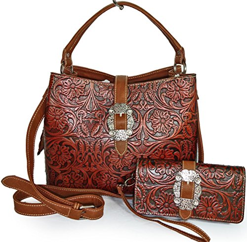 trinity-ranch-tooled-floral-leather-bucket-tote-w-crossbody-strap-wallet-brn