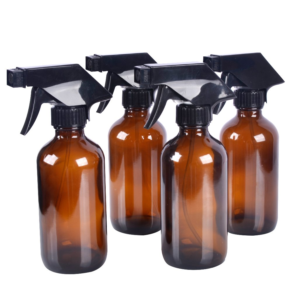 4 pack 8 oz Amber Glass Spray Bottle Bottles with Black Trigger Sprayer. Refillable Bottle for Essential Oils,Cleaning Products,Aromatherapy,Organic Beauty Products.Stream and Spray Settings Available.(4 Free Chalk as gifts) StarSide