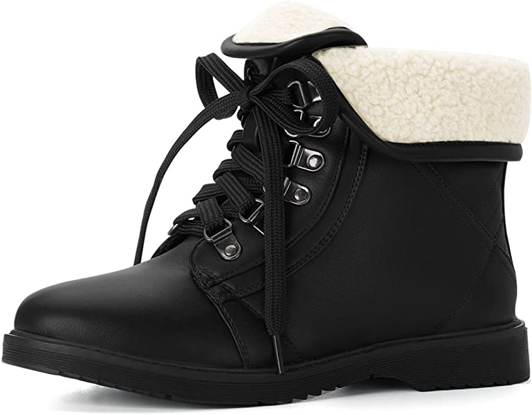 e770c979ad4e Allegra K Women s Plush Winter Ankle Lace Up Black Combat Boots - 6 ...