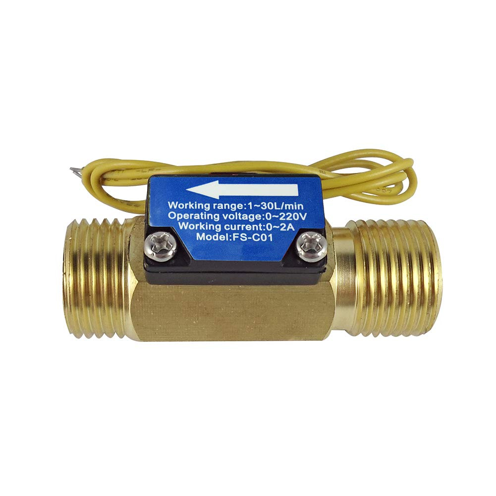 DIGITEN FS-C01 G1/2'' Male Thread Water Flow Switch with Filter 0-2A/ 0-220V(AC or DC)