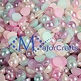 MajorCrafts® 2000pcs 4mm Pastel Mixed Colours Flat Back Half Round Resin Pearls
