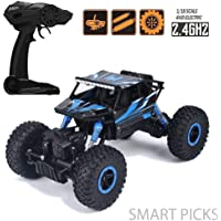 Smart Picks 1:18 Rechargeable 4Wd Rally Car Rock Crawler R/C Monster Truck Blue