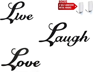 Live, Laugh & Love Black Metal Signs - Set of 3 Kitchen Wall Décor Art Signs - Two Bonus Self Adhesive Wall Hooks