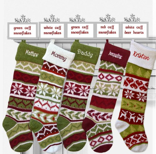 SET OF 5 Oversized 28'' Knitted Christmas Stockings FairIsle Knit + Monogram - CHOOSE YOUR DESIGNS - Embroidered with Choice of YOUR Names by CHRISTMAS-STOCKINGS-by-STOCKINGFACTORY (Image #1)
