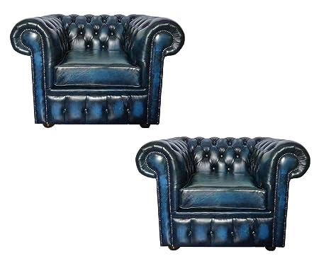 Magnificent Ck Chesterfield 100 Genuine Leather Antique Set Of 2 Club Inzonedesignstudio Interior Chair Design Inzonedesignstudiocom