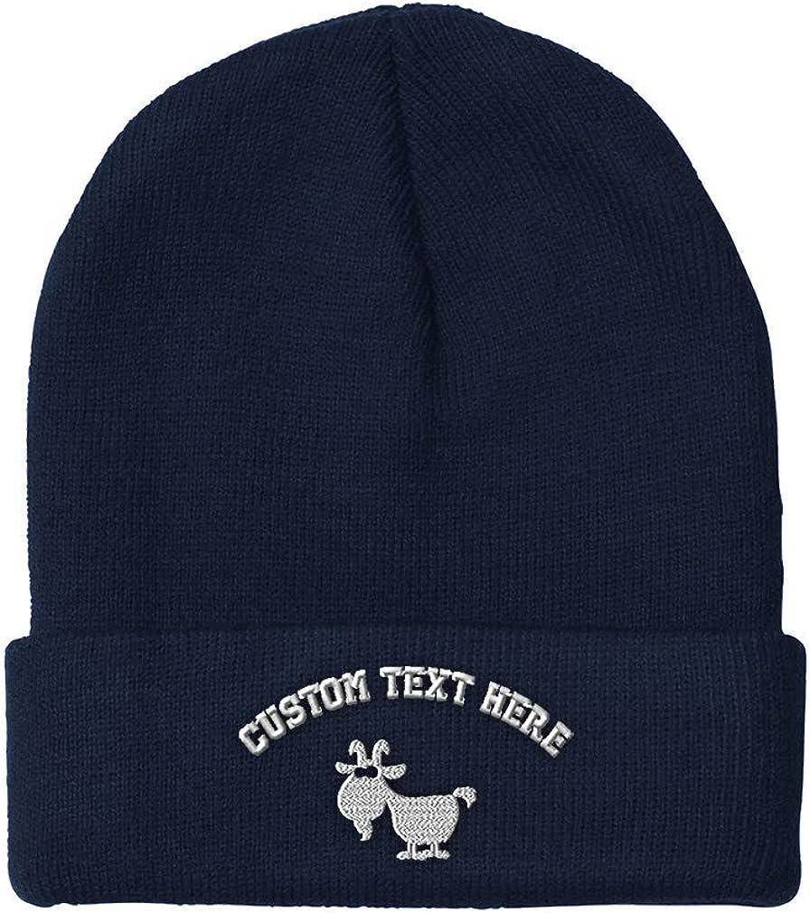 Custom Beanie for Men /& Women White Goat Embroidery Acrylic Skull Cap Hat