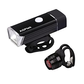 8d8656b77220 AGPTEK LED Bike Lights Set LC01 Rechargeable Front: Amazon.co.uk:  Electronics