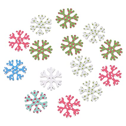 Apparel Sewing & Fabric Home & Garden 100pcs Christmas Holiday Wooden Collection Snowflakes Buttons Snowflakes Embellishments 18mm Creative Decoration