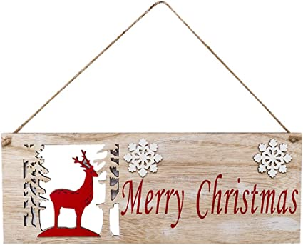 Christmas Elk Wood Plate Hollow Door Hanging Wooden Pendant Decor Xmas Ornaments