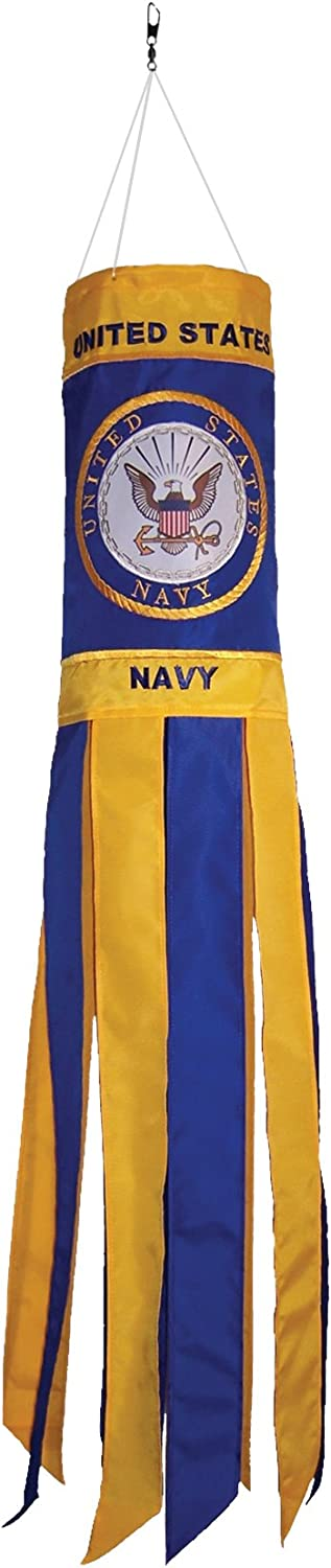 In the Breeze U.S. Navy Emblem 40 Inch Windsock - Military Service Hanging Decoration - Durable Embroidered and Appliqué Design