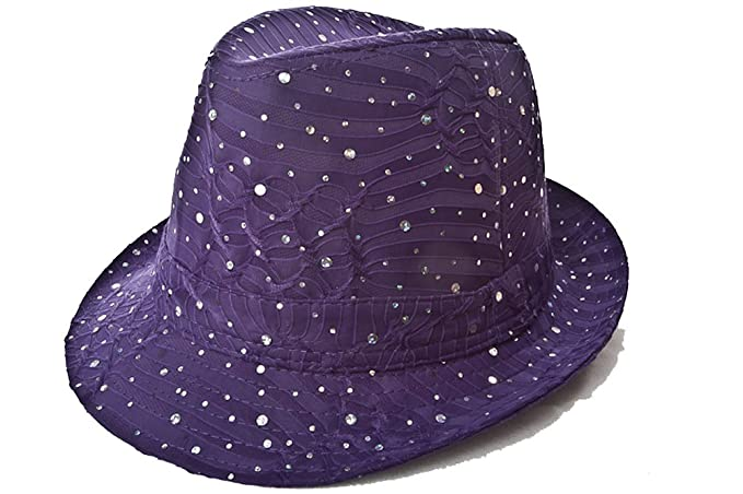 8e66cdca867 Sparkle Glitter Fedora   Purple   Red Hat Lady Society at Amazon ...