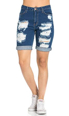 3bc43bf84c High Waisted Distressed Bermuda Shorts in Dark Blue at Amazon ...