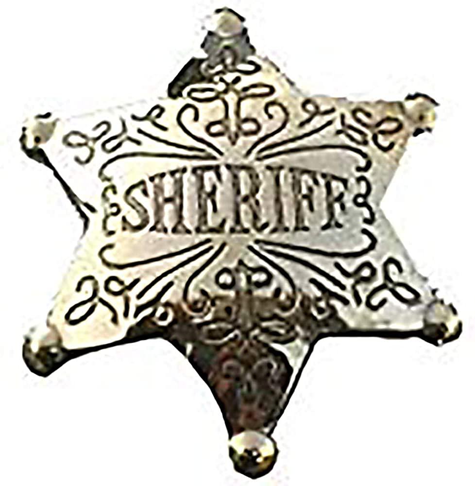 Costume Badge Ornate Brass Sheriff Old West Prop: Clothing