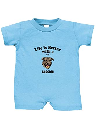 Amazon.com  Cursinu Dog Life is Better 100% Cotton Infant Baby Jersey Tee  T-Romper  Clothing 15a96fce5