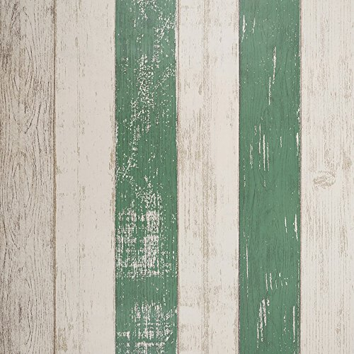 SICOHOME Peel Stick Wallpaper,11 Yards,Green Stripe Wallpaper Adhesive Wall Decoration