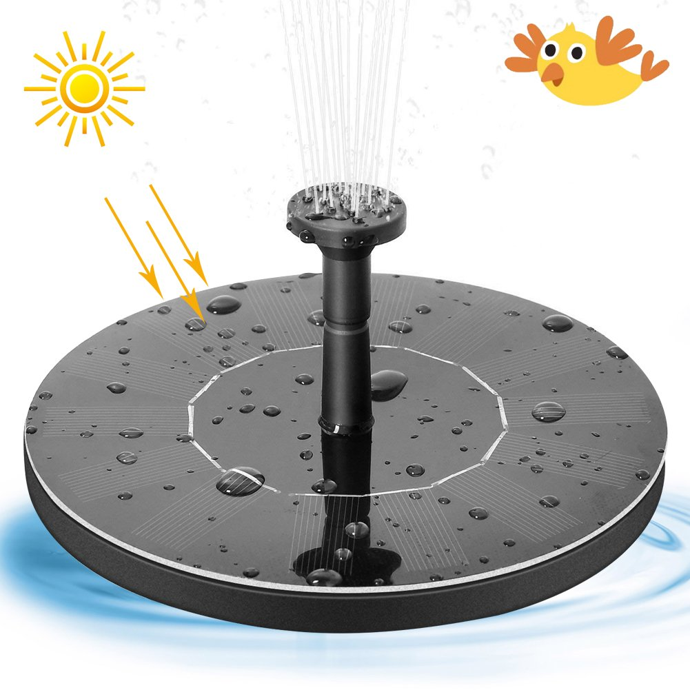 Solar Bird Bath Fountain Pump, Outdoor Floating Water Pump, 1.4W Solar Panel Kit Submersible Pump for Pond, Pool, Garden, Fish Tank, Aquarium