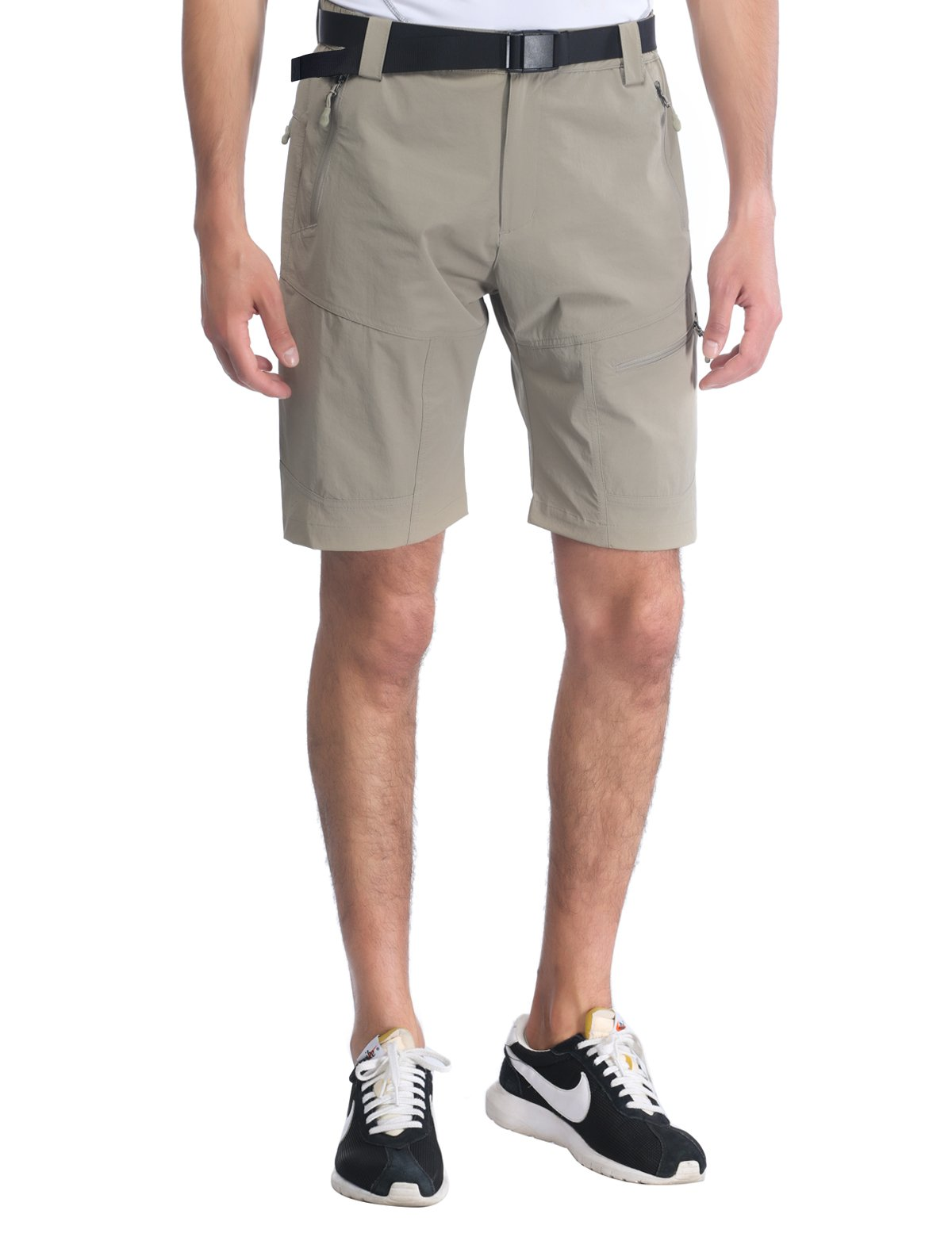 MIERSPORTS Men's Tactical Shorts Lightweight Cargo Shorts with 5 Zipper Pockets, Quick Dry, Water Resistant, Rock Gray, XL
