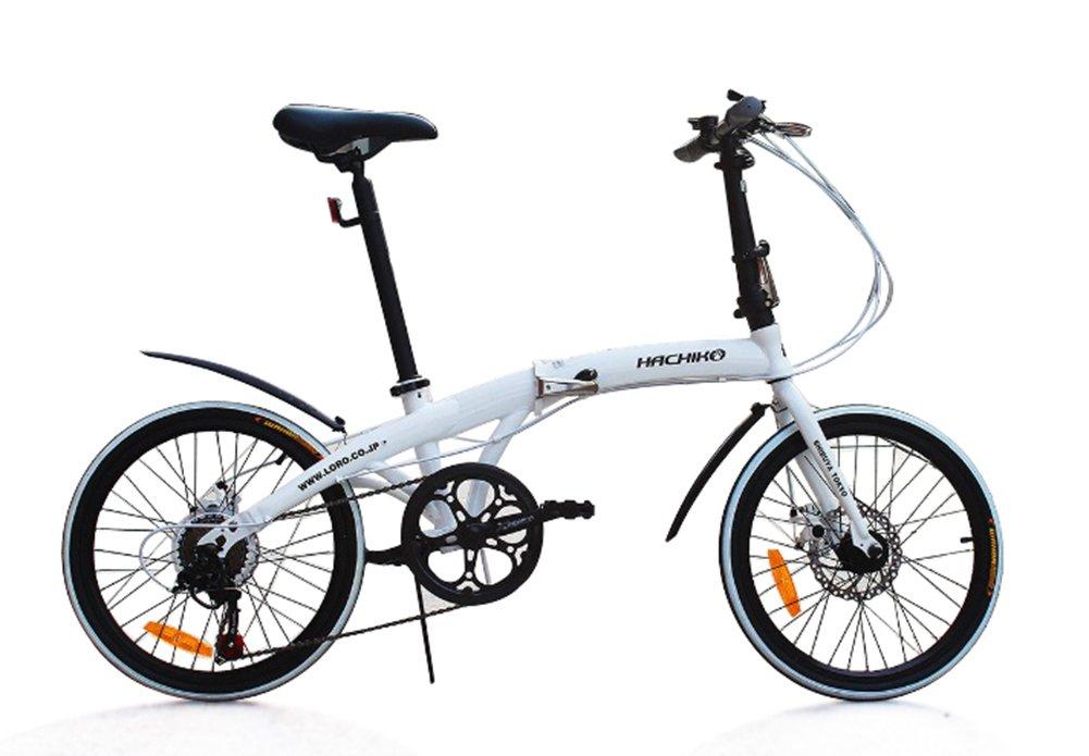 ハチコHACHIKO高炭素鋼折り畳み自転車SHIMANOシマノ7段変速 20インチ[98%完成品]泥よけ付き HA-02 B01BIU3AW0白い