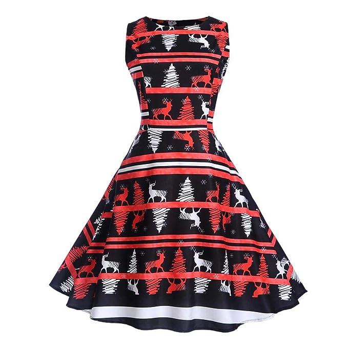 571c31a84c06 IBàste Elegante Natale Abito Donna Vestito Festa Vestiti Natalizi Babbo  Natale Vintage Audrey Retro Vestito Swing  Amazon.it  Abbigliamento