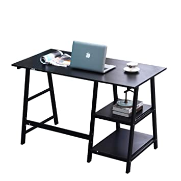 Super Soges Computer Desk 55Inches Pc Desk Office Desk With Shelf Workstation For Home Office Use Writing Table Black Tplus Bk 140 Ca Download Free Architecture Designs Ferenbritishbridgeorg