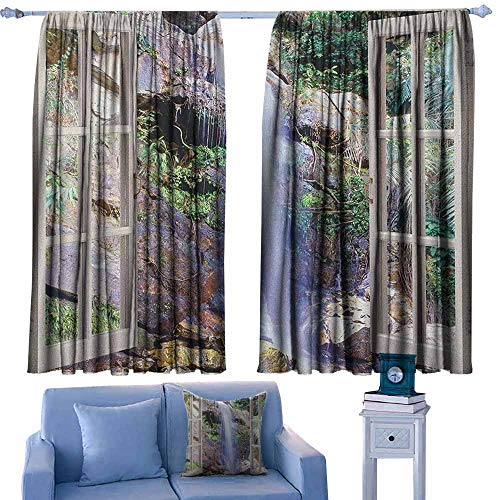 (Black Out Window Curtain,Waterfall Open Window Sees A Small Water Cascade Flowing Down Hills Recreational Picture,for Patio/Front Porch,W72x72L Inches Brown Green)